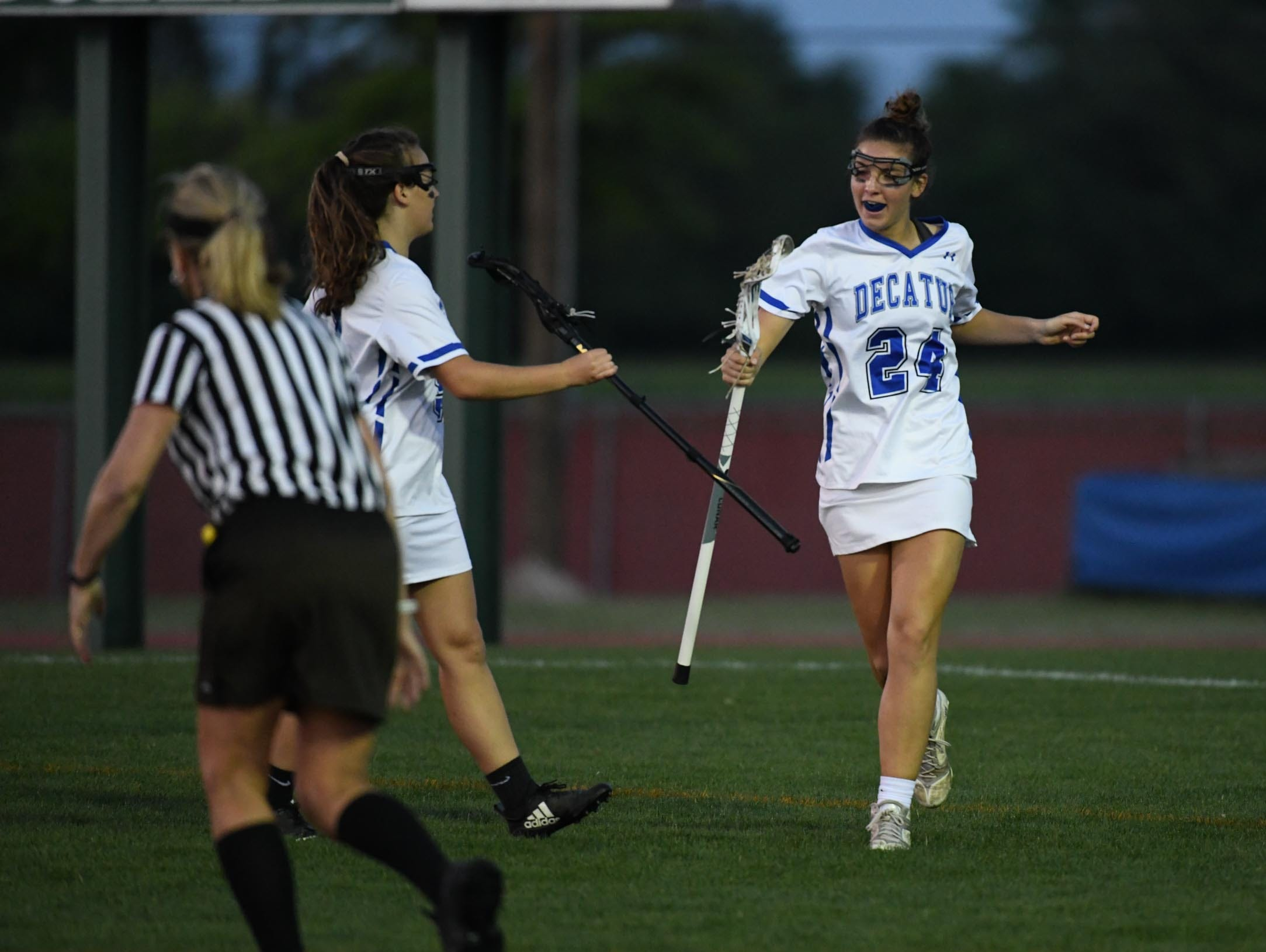 Stephen Decatur's Alyssa Romano celebrates after a goal against Kent Island during the Bayside Championship on Monday, May 6, 2019 at Wicomico County Stadium in Salisbury, Md.