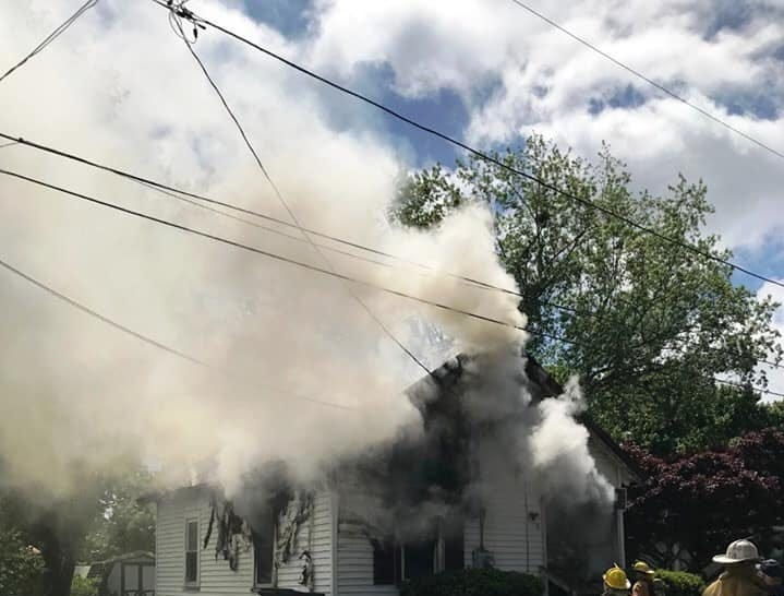 Firefighters battled a blaze that left this Onancock house heavily damaged on Monday, May 6, 2019.