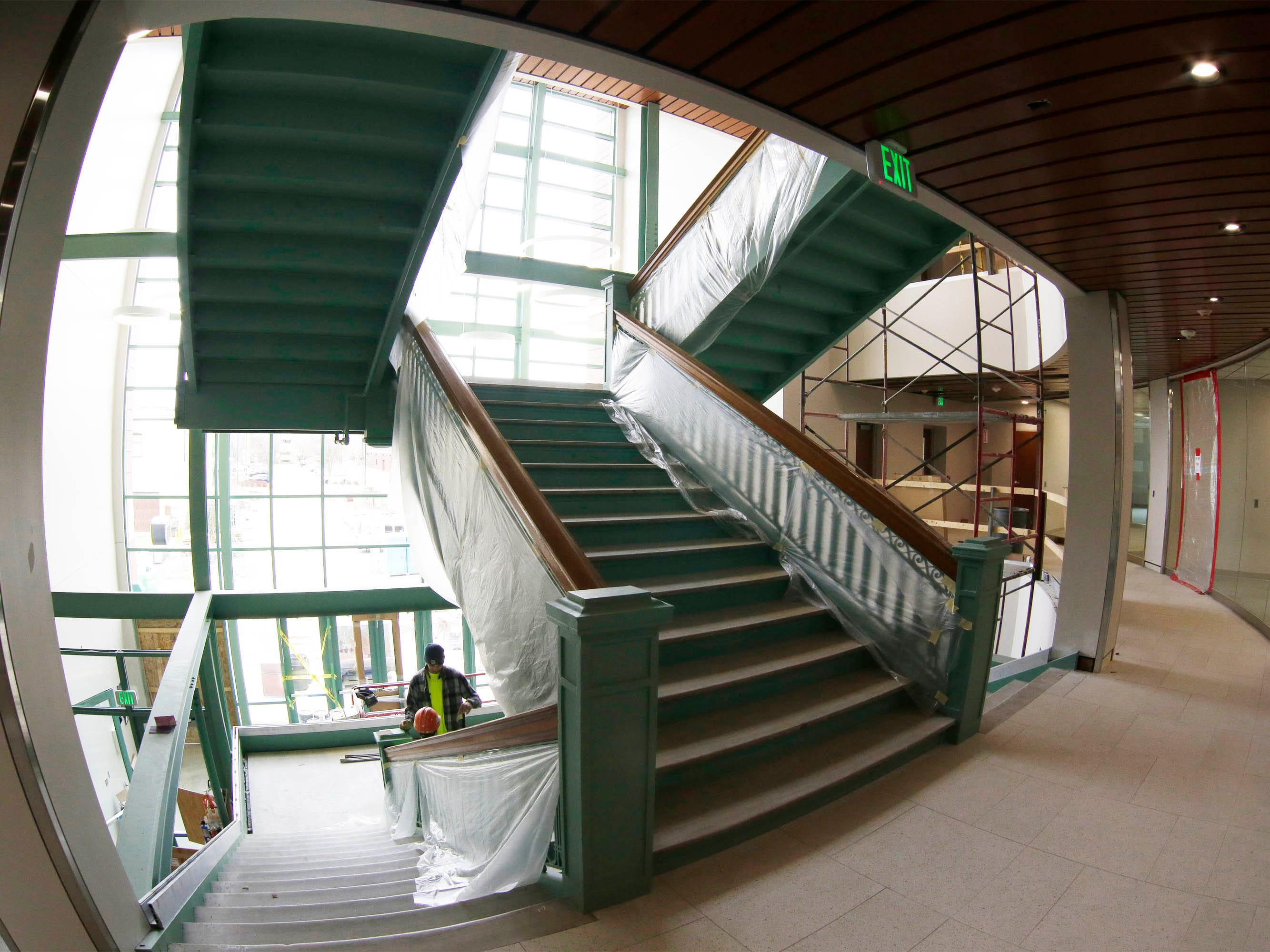 A view of the Sheboygan City Hall second floor landing as seen, Tuesday, May 7, 2019, in Sheboygan, Wis.