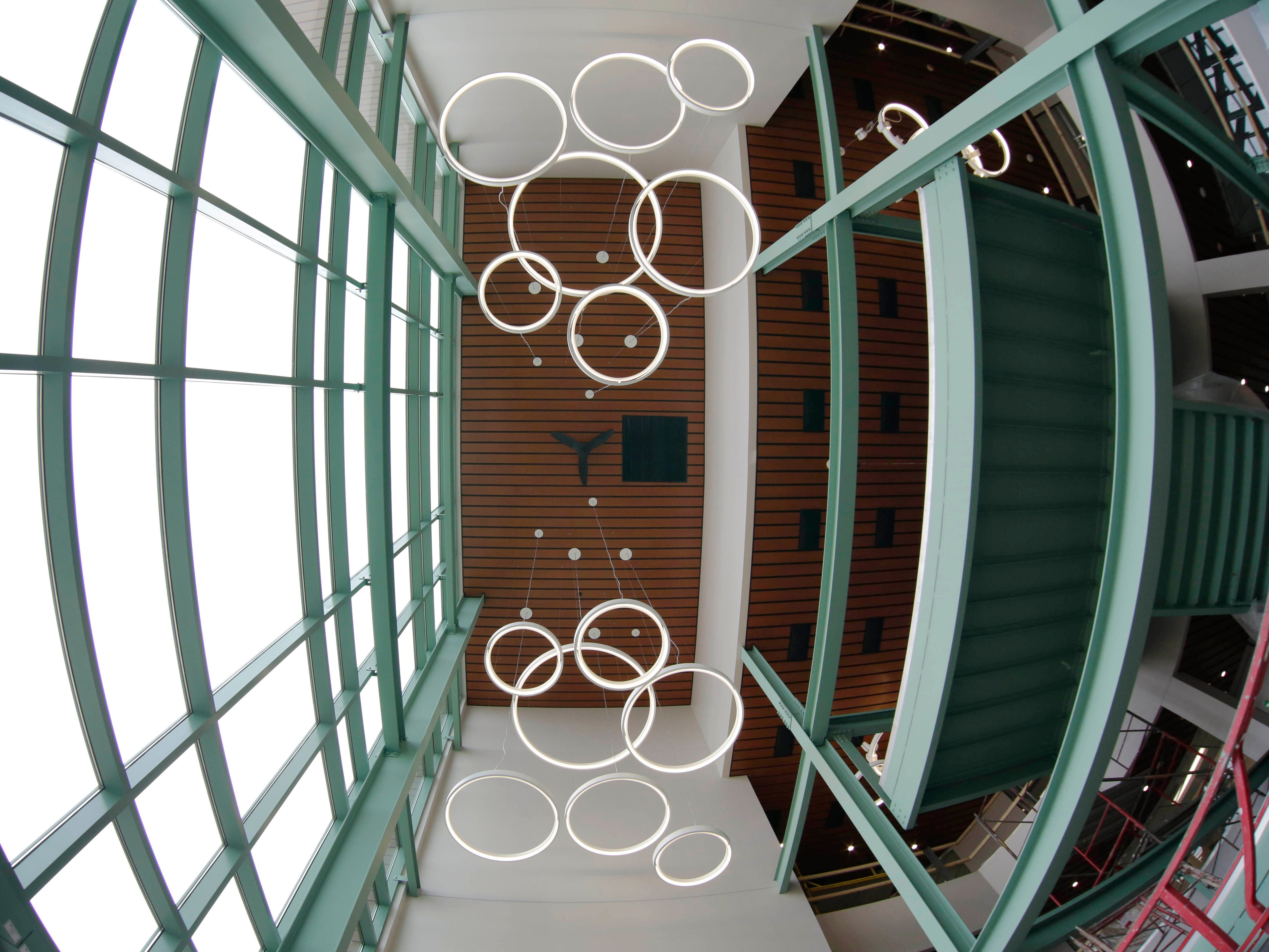 A view from below of the main entrance to Sheboygan City Hall as seen, Tuesday, May 7, 2019, in Sheboygan, Wis.