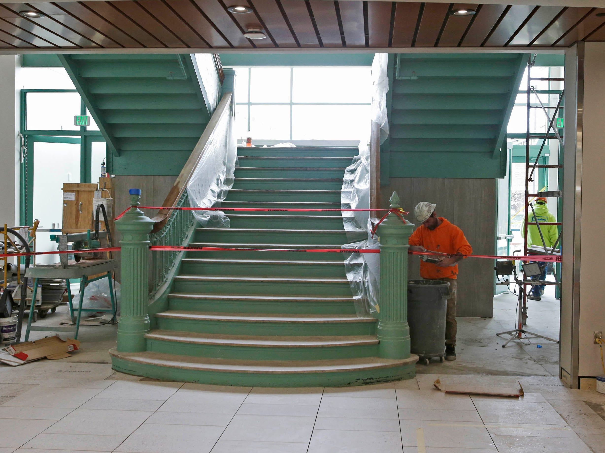 The stairway area at Sheboygan City Hall as seen, Tuesday, May 7, 2019, in Sheboygan, Wis.