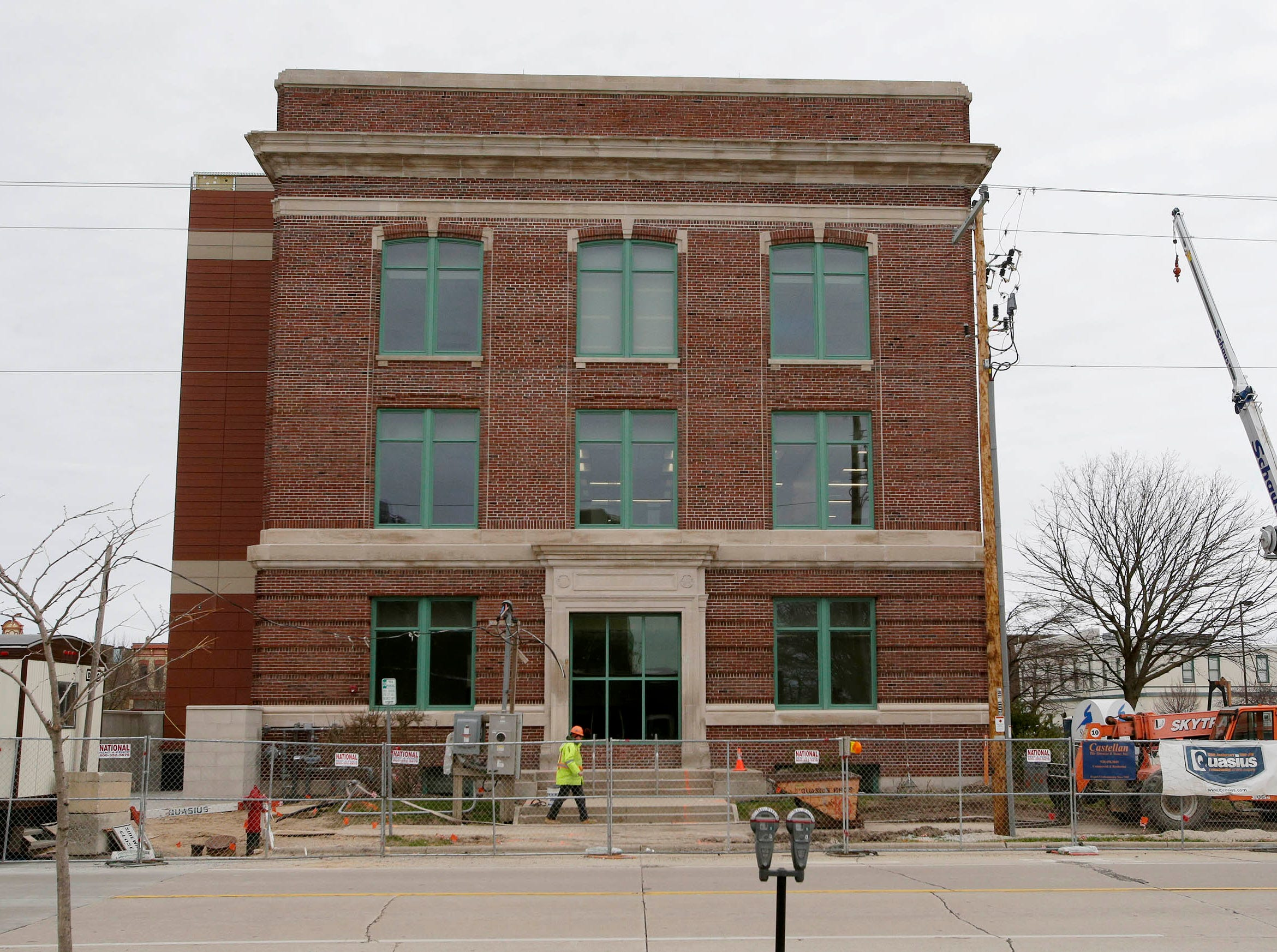 The west side of Sheboygan City Hall as seen, Tuesday, May 7, 2019, in Sheboygan, Wis. The facility is going through a complete renovation.