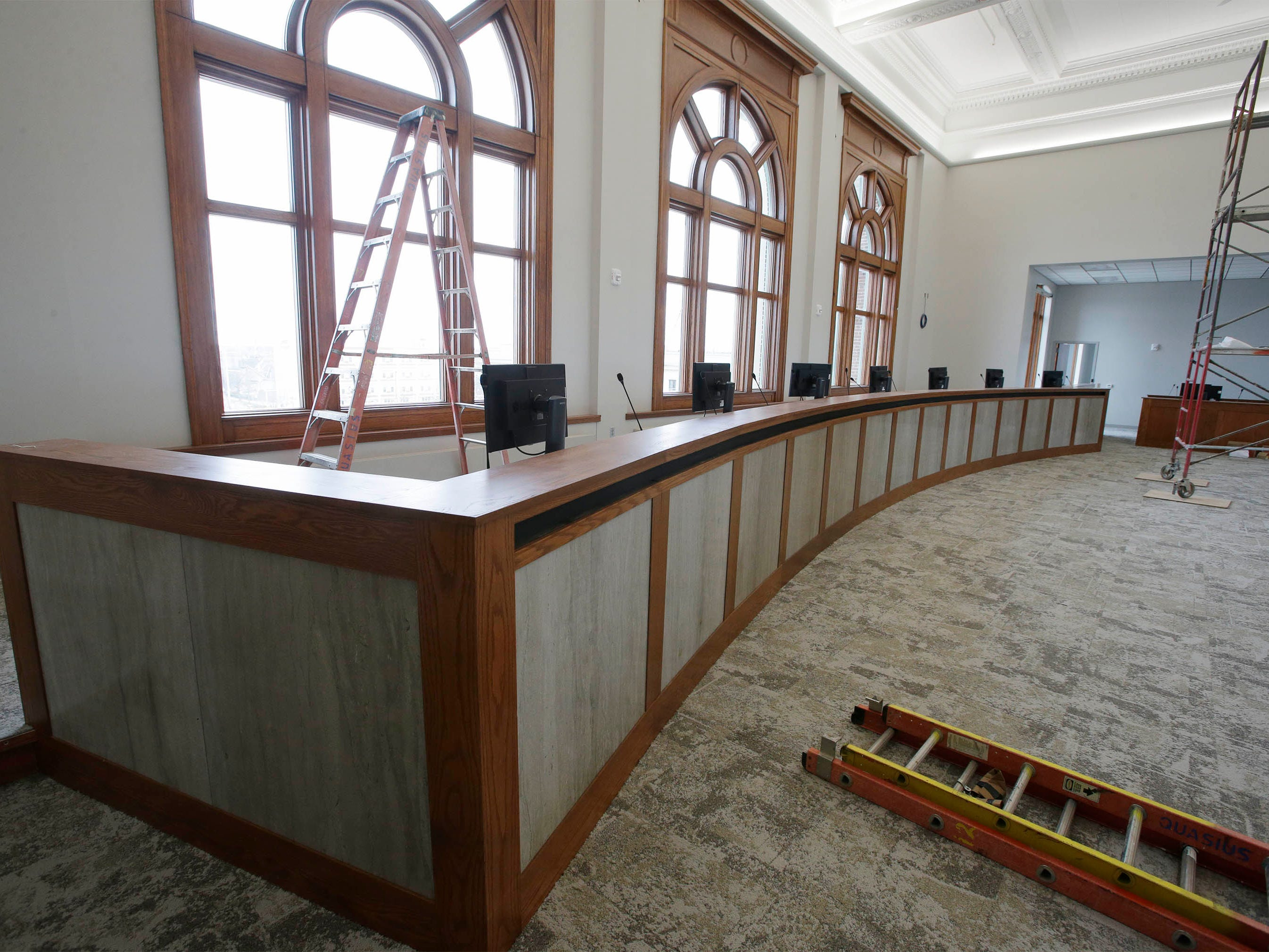 A view of the Sheboygan Council Chambers as seen, Tuesday, May 7, 2019, in Sheboygan, Wis. Extensive remodeling at Sheboygan City Hall has repurposed many old pieces of marble at the facility. In this case the fronts of the council seats.