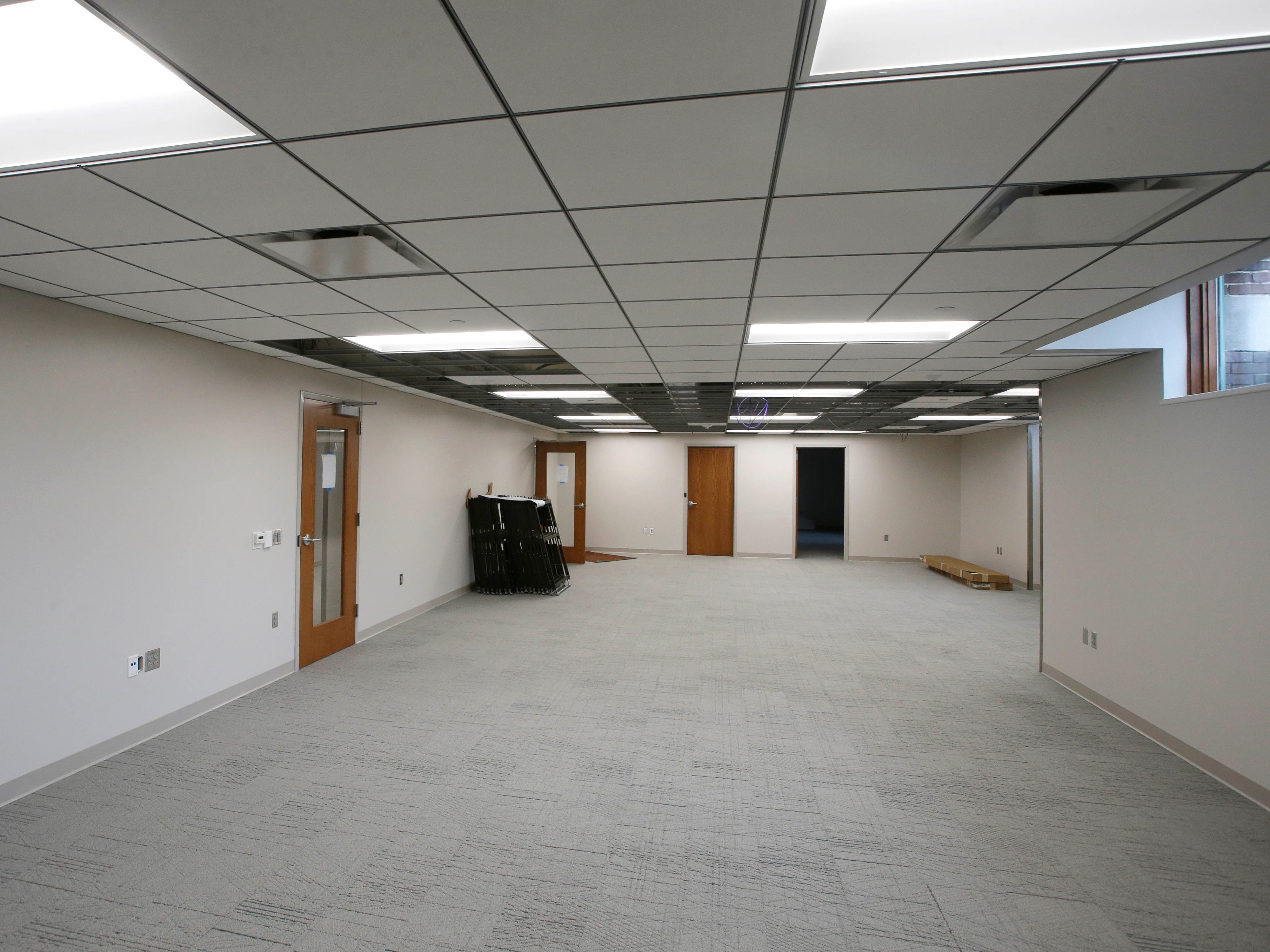 The remodeled meeting room area in the basement at Sheboygan City Hall as seen, Tuesday, May 7, 2019, in Sheboygan, Wis.