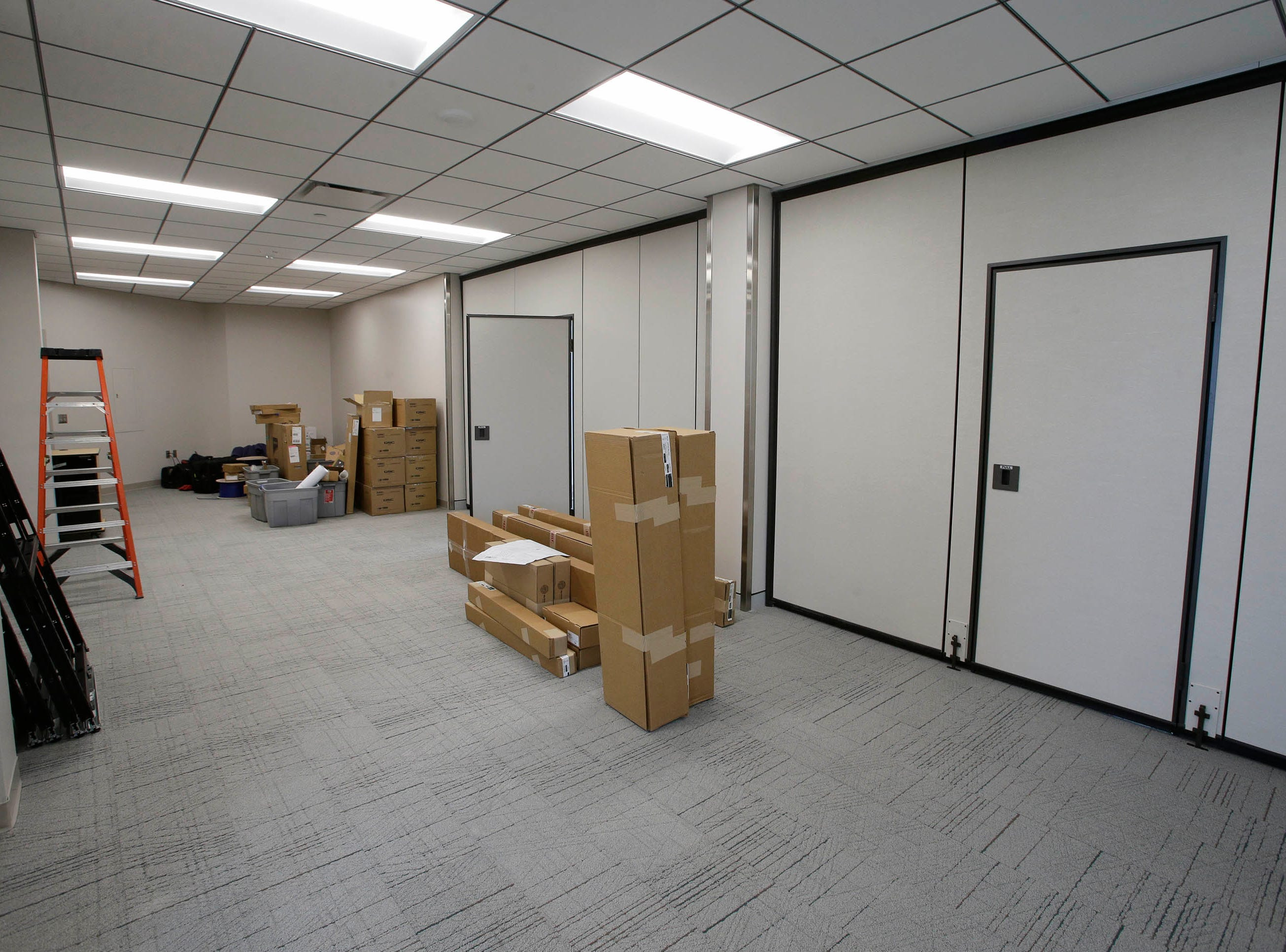 A view of the employee lounge area with its movable walls at the newly remodeled Sheboygan City Hall as seen, Tuesday, May 7, 2019, in Sheboygan, Wis.