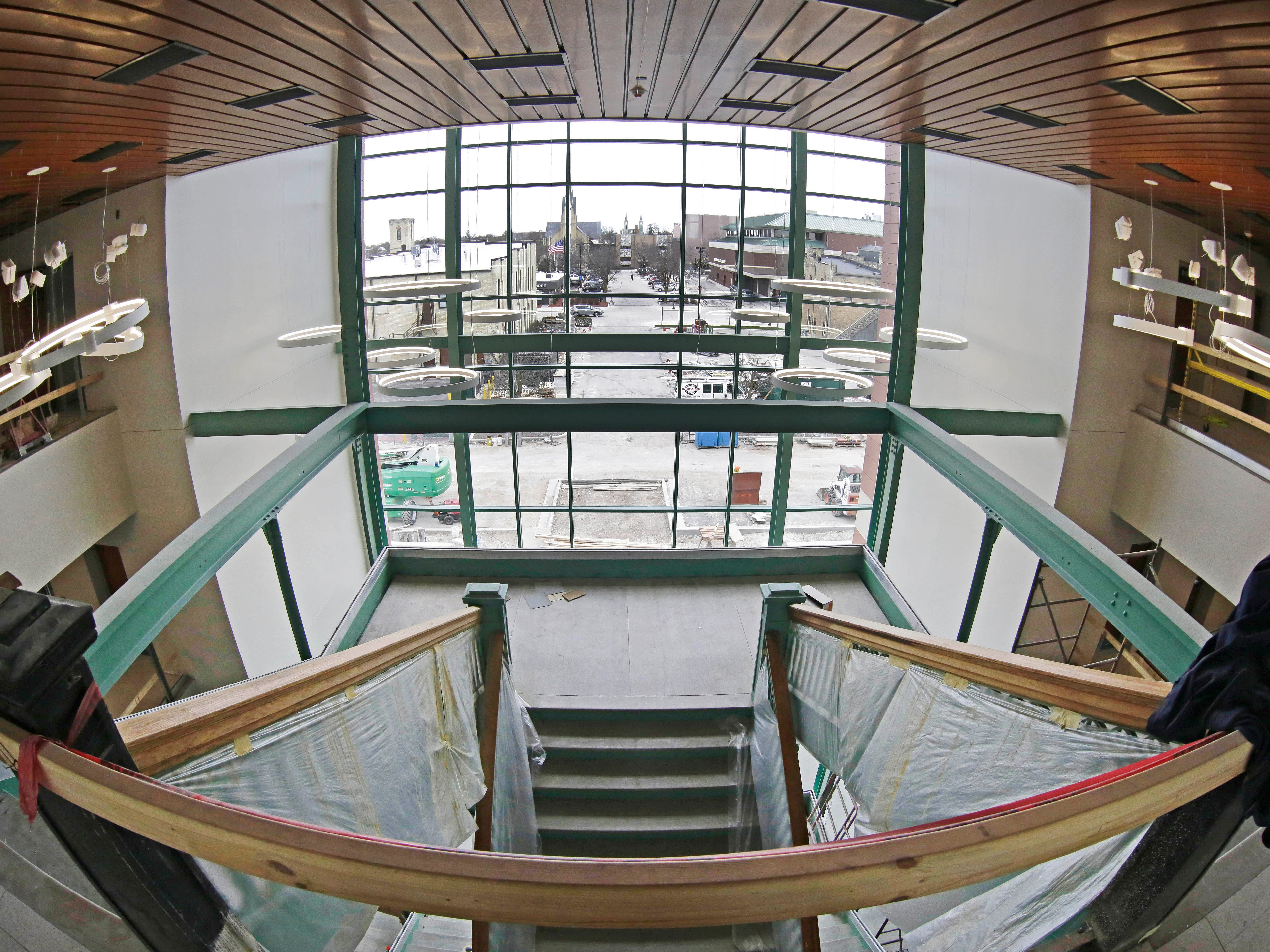 A view from the third floor at Sheboygan City Hall as seen, Tuesday, May 7, 2019, in Sheboygan, Wis.