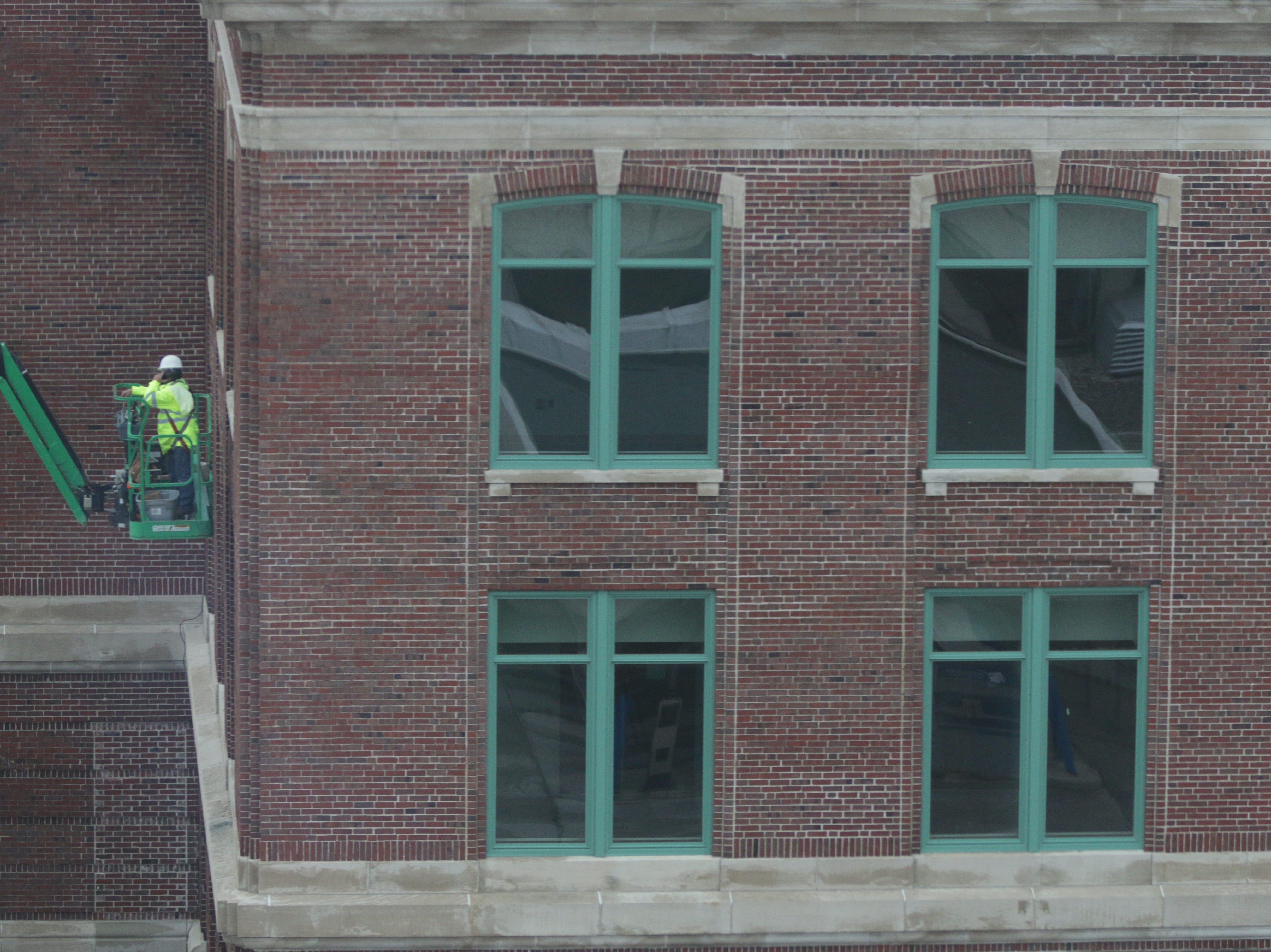 A view of the construction on the rebuilding of the Sheboygan City Hall as seen, Wednesday, May 1, 2019, in Sheboygan, Wis.
