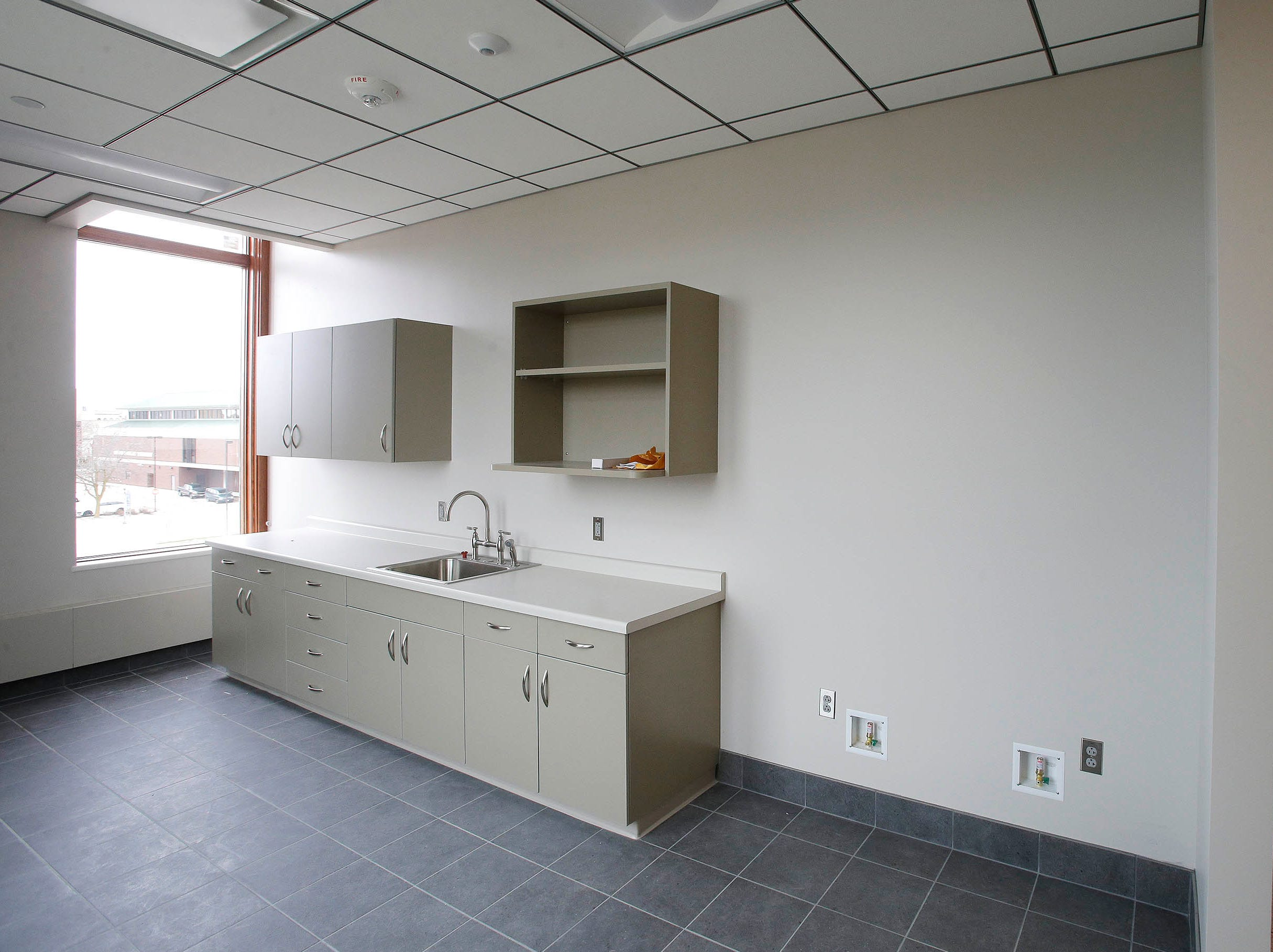 A view of the employee lounge area at the newly remodeled Sheboygan City Hall as seen, Tuesday, May 7, 2019, in Sheboygan, Wis.