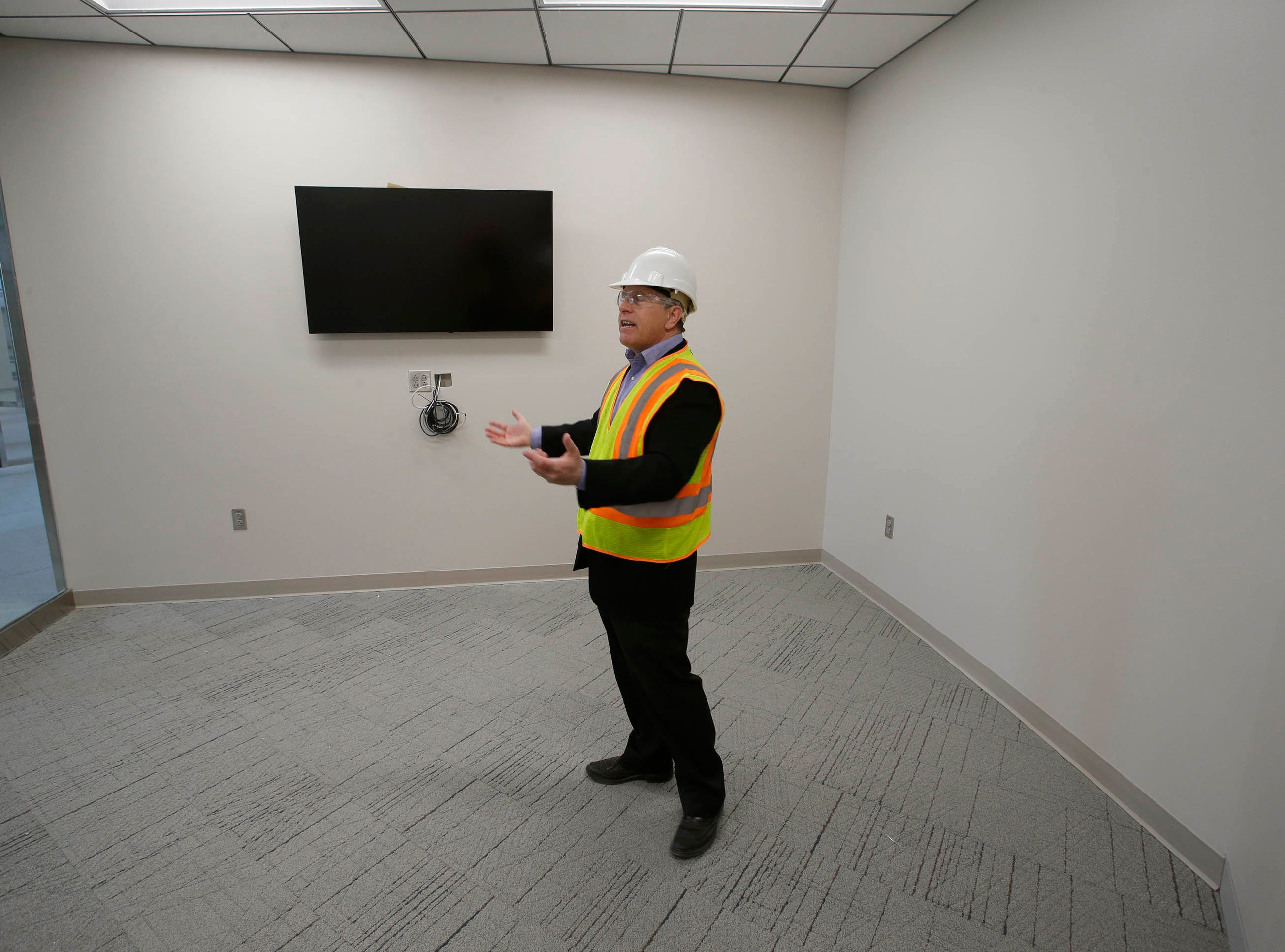 Director of Public Works Director David Biebel stands in the building inspection's meeting room area in the remodeled Sheboygan City Hall, Tuesday, May 7, 2019, in Sheboygan, Wis.