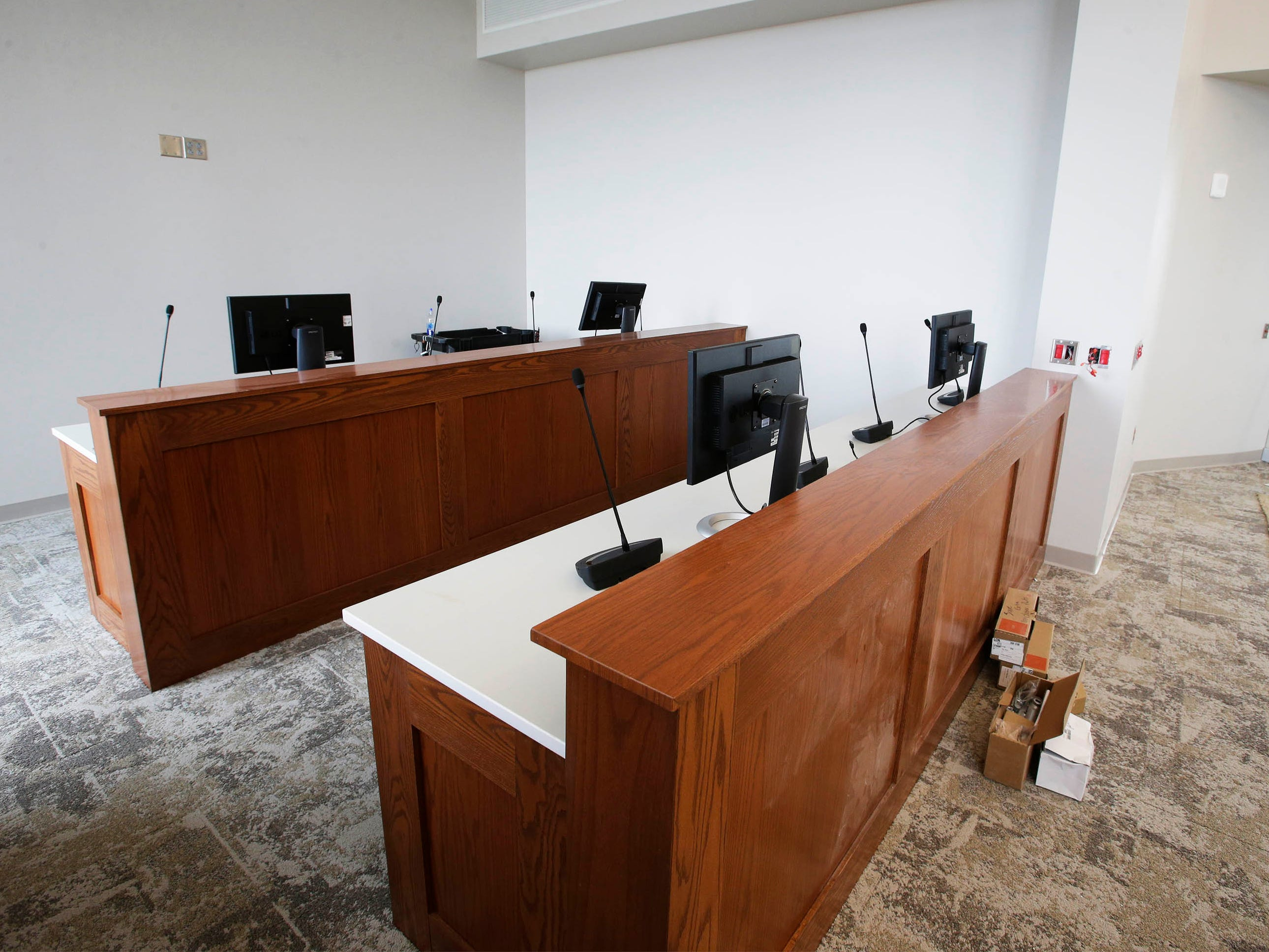 The managers area in the newly refurbished Sheboygan City Hall council chambers as seen, Tuesday, May 7, 2019, in Sheboygan, Wis.