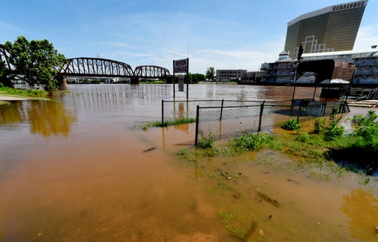 Flooding of the Red River on May 7, 2019, at the Shreveport Riverview Park.