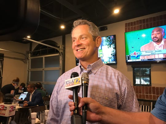 LSU strength coach Tommy Moffitt speaks to reporters before the Tigers' coaches' caravan stop in Shreveport in the spring of 2019.