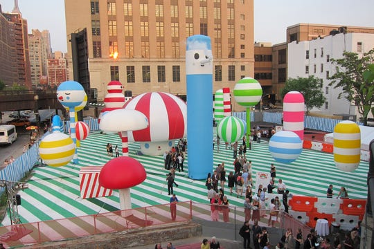 """FriendsWithYou artist team installed a """"Rainbow City"""" public spaces in New York City. The parks encourage people to interact, explore and create positive rituals within their community."""