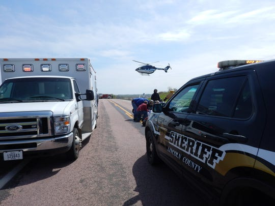 A motorcyclist was seriously injured and airlifted to a Sioux Falls hospital after a crash likely caused by equipment failure Tuesday morning, according to the Lincoln County Sheriff's Office.
