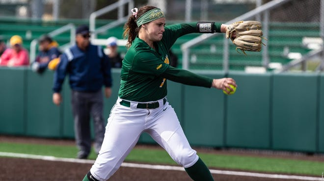 NDSU pitcher KK Leddy leads the Summit League in wins, strikeouts and ERA