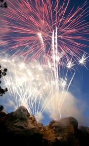 Fireworks light up the sky over Mount Rushmore in 2007.