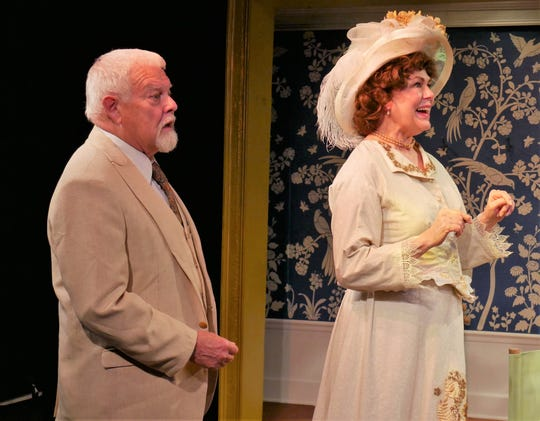"Ron Seney as Mr. Praed and Susan Pertalion as Mrs. Kitty Warren in ""Mrs. Warren's Profession."""