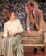 Courtney Monier as Vivie Warren and Jeff Carney as Sir George Crofts.