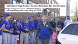 The school community surprised longtime teacher and coach Bob Karn with a limo ride to school and other events Tuesday, May 7.