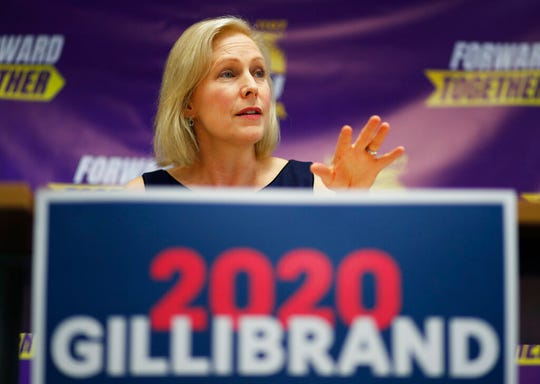 Democratic presidential candidate Sen. Kirsten Gillibrand speaks at a campaign event at a Service Employees International Union office Monday, May 6, 2019, in Las Vegas. (AP Photo/John Locher)