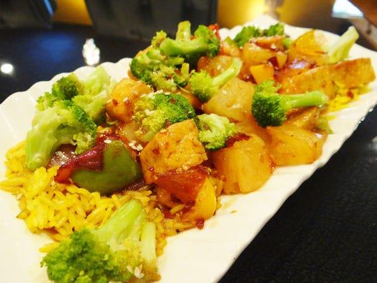 Tofu teriyaki, which can be made as a vegan dish is at Nefetari.