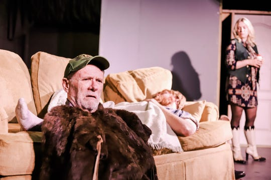 "Dodge (Jim McMurtry, foreground) is the patriarch of a once great middle-class farming family and his son Bradley (Chuck Robinson) is asleep. Shelly (Katherine Becker) is an outsider in Sam Shepard's ""Buried Child"" at Palaver Tree Theater."