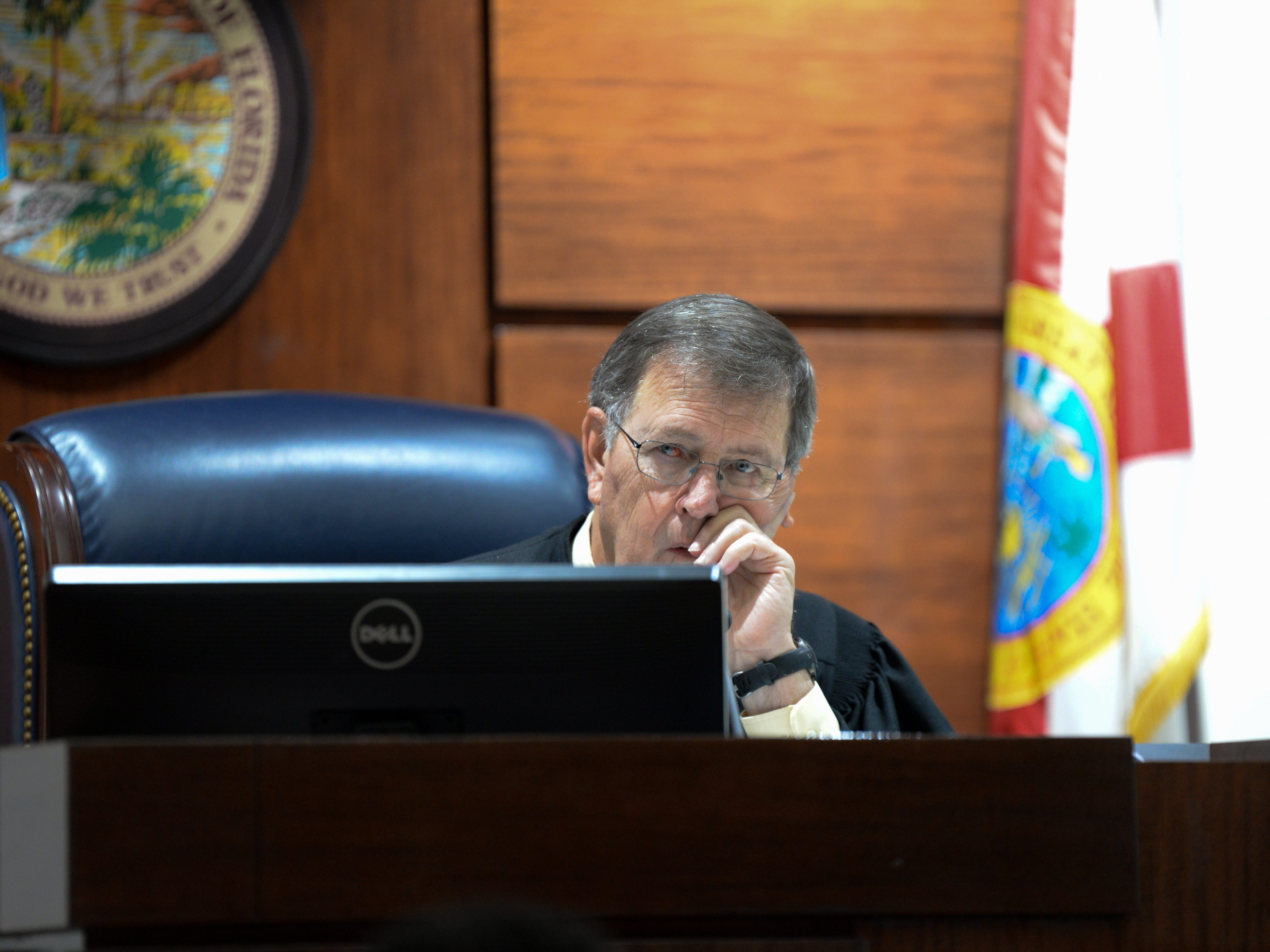 Leon County Circuit Judge James C. Hankinson, listens to arguments from Saam Zengeneh, attorney for Sigfredo Garcia, one of two suspects set to stand trial next month in the murder of Dan Markel and Assistant State Attorney Georgia Cappleman at a hearing requested by Zengeneh for a continuance in Garcia's trial at the Leon County Courthouse Tuesday, May 7, 2019.