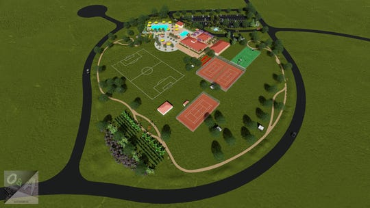 Artist rendering of what the Village Club & Preserve will look like upon completion. Build-out will take place in stages as fundraising and cash reserves allow. At grand opening, slated for summer 2019, the planned property will  feature a restored aquatics complex, 1,600-square-foot open-air pavilion, 2,250-square-foot community building with wrap-around porch, half-mile perimeter fitness trail, dog park, and four marked pickleball courts. A few of the priority future features are a double-battery of clay tennis courts, a multi-purpose sport court, and a historical-themed handicap accessible playground.
