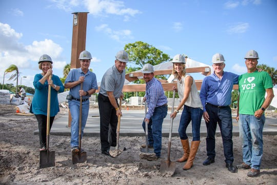 Breaking ground on The Village Club & Preserve Community Complex are, from left, Sue Andersen, VCP secretary; Mark Mistarz, VCP treasurer; Martin County Commissioner Ed Ciampi; Rick Mancil, of Mancil's Complete Sitework; Krista Singleton, VCP president; Dave Webb, VCP vice president; and Gary Summers, VCP project manager.