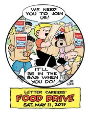 The National Association of Letter Carriers will conduct its 27th annual Stamp Out Hunger Food Drive on Saturday, May 11, 2019.