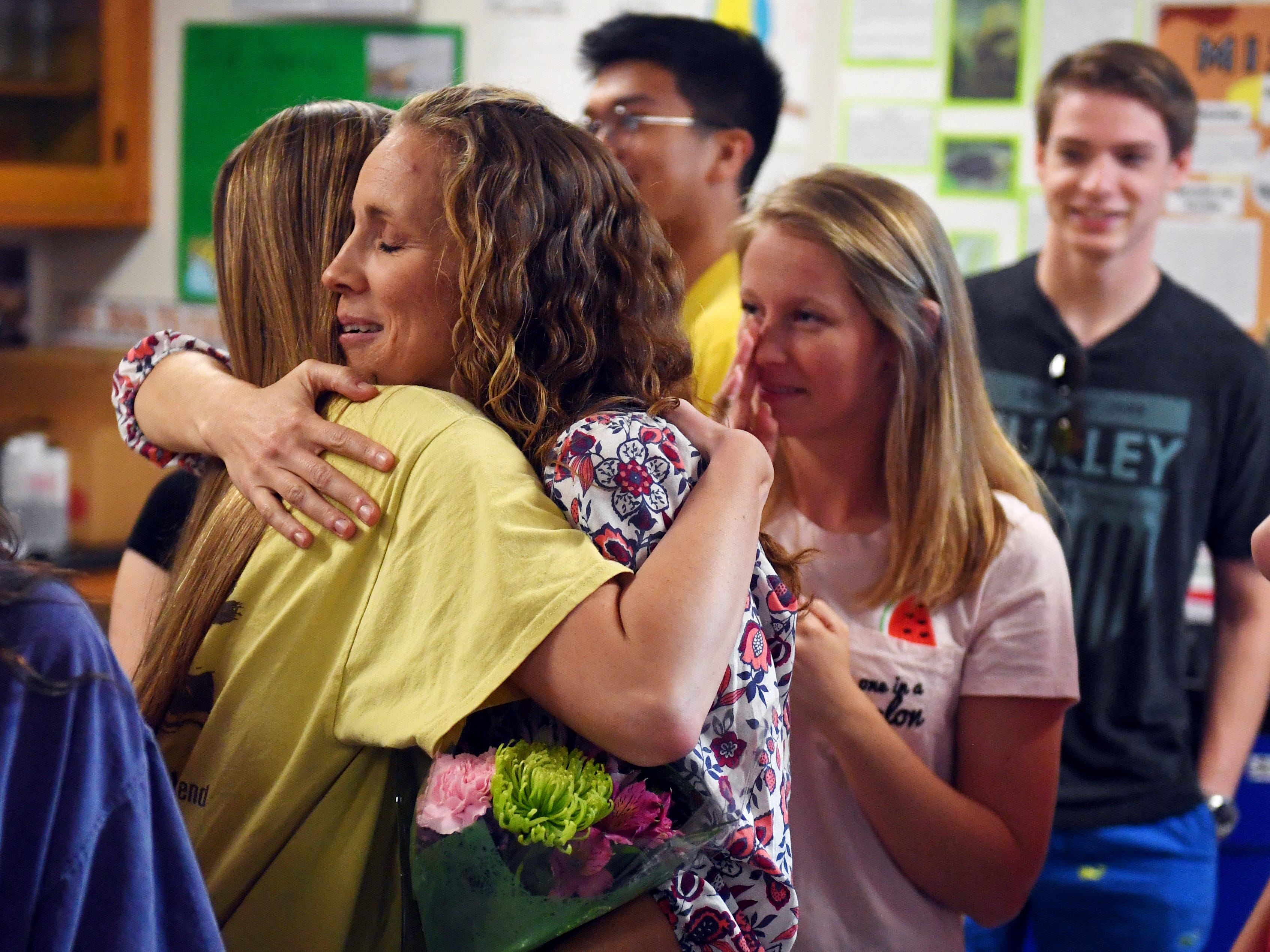 In a surprise visit, Dr. Nikki Mosblech, a science teacher at Vero Beach High School was informed by staff members of the Florida Department of Education that she is one of five finalists for the 2020 Florida Teacher of the Year on Tuesday, May 7, 2019. Mosblech was picked from 74 teachers from across the state as a finalist. The announcement of the Teacher of the Year will be made July 18.