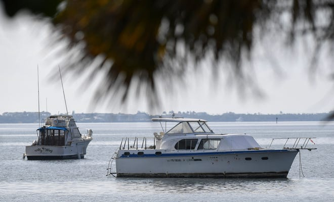Boats are seen anchored off the southwest side of the Jensen Beach Causeway in the Indian River Lagoon, on Tuesday, May 7, 2019, in Jensen Beach. Martin County is planning a mooring field at Jensen Beach Causeway Park, with more than 50 mooring units available to rent with full utilities, docks, and washrooms facilities, with construction beginning as early as this summer.