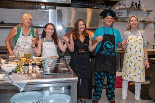 Chefs Michelle Maguire, left, Jennifer DiTrapani, Tina Craft, Craig Ahal and Tammy Matthew await the results at the Top Chef Martin County competition benefiting House of Hope. Ahal was crowned 2019 Top Chef Martin County. Craft was the defending champion.