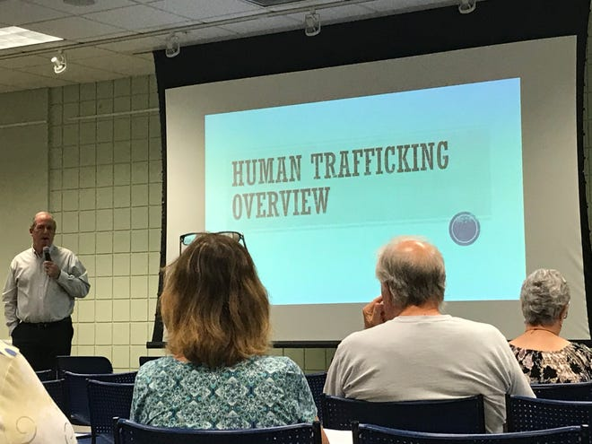 Martin County Commissioner Ed Ciampi and others spoke to a crowd Monday night in Palm City about human trafficking in Florida.