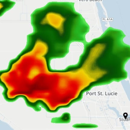 Slow-moving thunderstorm bringing heavy rain prompts flood advisories for St. Lucie, Martin Counties