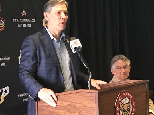 Alan Ledford, president of MountainStar Sports Group, speaks at a news conference Tuesday, May 7, 2019.