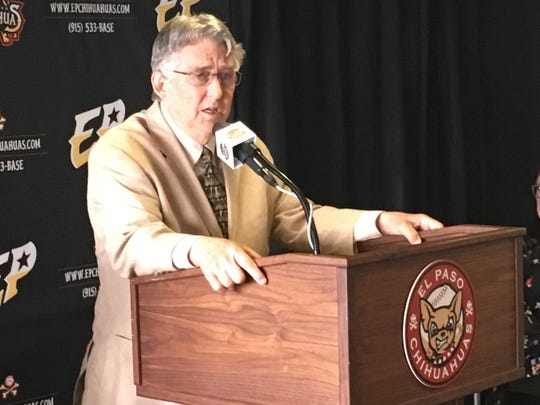 Branch Rickey, president of the Pacific Coast League, speaks at a news conference Tuesday, May 7, 2019, in El Paso.