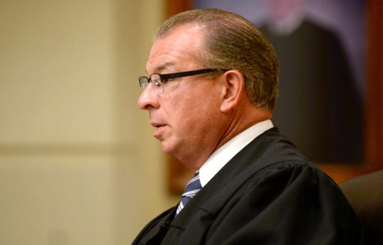Judge John C. Eastlack speaks during a hearing postponement in Cumberland County Superior Court on Tuesday, May 7, 2019.