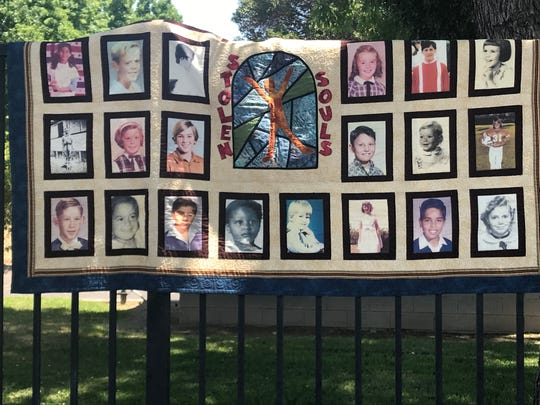 A quilt made of photos of survivors of clergy sex abuse. SNAP isdemanding the Roman Catholic Diocese of Fresno immediately release the names of any clergy member accused of abuse over the past 50 years.