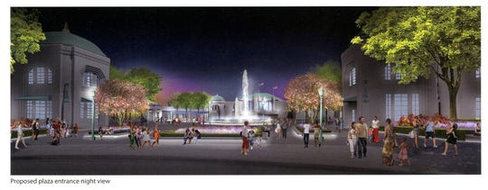 A section of Standard Amusements' draft master plan for Playland park includes proposed improvements to the fountain plaza.