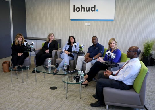 Area school athletic directors participate in a panel discussion about diversity, at the lohud offices in White Plains, May 7, 2019. Pictured from left are Donna Pirro, the athletic director for the Mount Pleasant Central School District; Tess Brogan, the athletic director for Clarkstown North High School; Denise Kiernan, the athletic director for Sleepy Hollow High School; Chris Hodge, the assistant superintendent and in charge of athletics for the Poughkeepsie City School District; Susan Dullea, the athletic director for Carmel High School and Stuart Robinson, the athletic director for SUNY New Paltz.