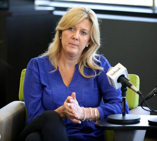 Susan Dullea, the athletic director for Carmel High School participates in a panel discussion about diversity, at the lohud offices in White Plains, May 7, 2019.
