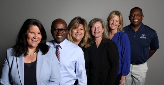 Of the 70 athletic director positions in Section 1, which includes Westchester, Rockland, Putnam and parts of Duchess counties, 58 are white males. Among those representing diversity are, from left, Denise Kiernan, the athletic director for Sleepy Hollow High School; Stuart Robinson, the athletic director for SUNY New Paltz; Donna Pirro, the athletic director for the Mount Pleasant Central School District; Tess Brogan, the athletic director for Clarkstown North High School; Susan Dullea, the athletic director for Carmel High School and Chris Hodge, the assistant superintendent and in charge of athletics for the Poughkeepsie City School District.