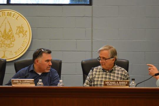 Carmel Town Board member Michael Barile, right, and Town Board member John Lupinacci, at Carmel Town Hall.