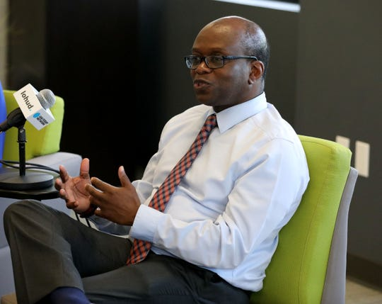Stuart Robinson, the athletic director for SUNY New Paltz participates in a panel discussion about diversity, at the lohud offices in White Plains, May 7, 2019.
