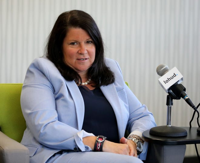 Denise Kiernan, the athletic director for Sleepy Hollow High School participates in a panel discussion about diversity, at the lohud offices in White Plains, May 7, 2019.