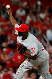 Edgar Garcia #41 delivers a pitch against the St. Louis Cardinals in the fifth inning of the the Philadelphia Phillies at Busch Stadium on May 6, 2019 in St. Louis, Missouri.