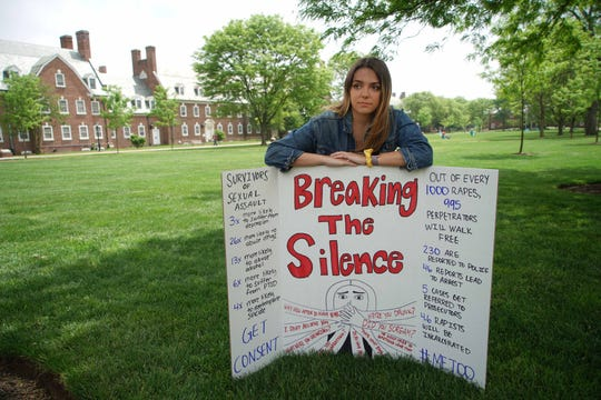 Alyvia Pauzer, 19, a sophomore at the University of Delaware, on the school's Green a day before the silent protest she plans to hold to draw awareness to the lack of attention she said her sexual assault has received from the state.