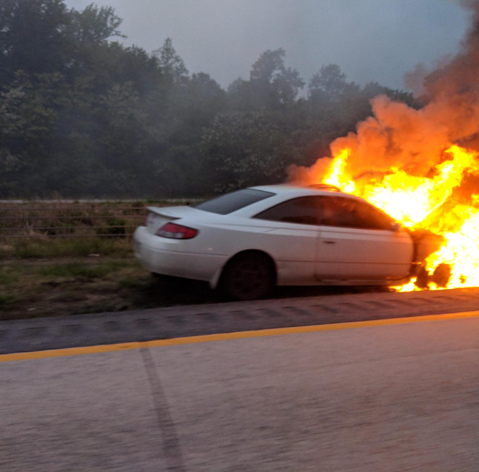 Del. 1 north reopens after car fire near Odessa Tuesday morning