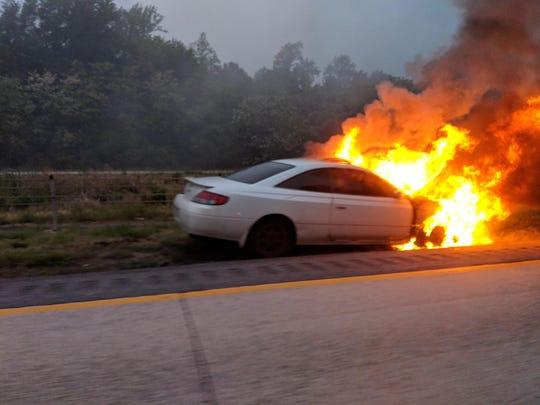 A car fire on Del. 1 north near Drawyer Creek Bridge.
